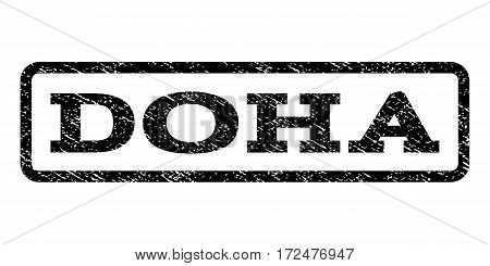 Doha watermark stamp. Text tag inside rounded rectangle frame with grunge design style. Rubber seal stamp with scratched texture. Vector black ink imprint on a white background.