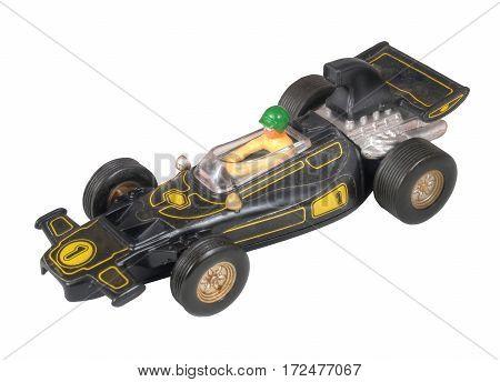 Black race car toy / Formula One black / isolated white