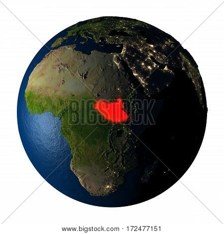 South Sudan In Red On Earth Isolated On White