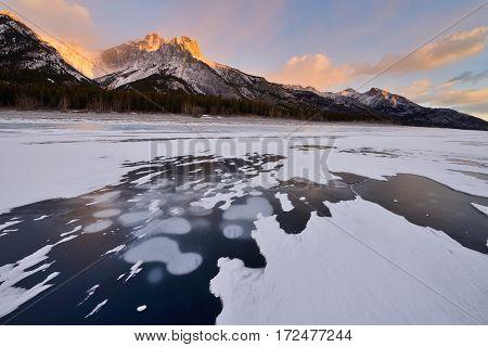 Abraham Lake In Winter Sunrise Kootenay Plains Alberta