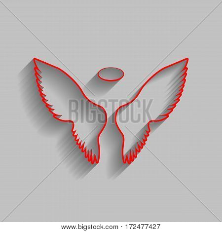 Wings sign illustration. Vector. Red icon with soft shadow on gray background.