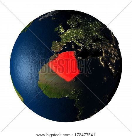 Algeria In Red On Earth Isolated On White