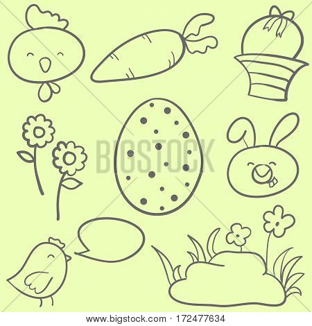 Collection stock of easter doodles vector art