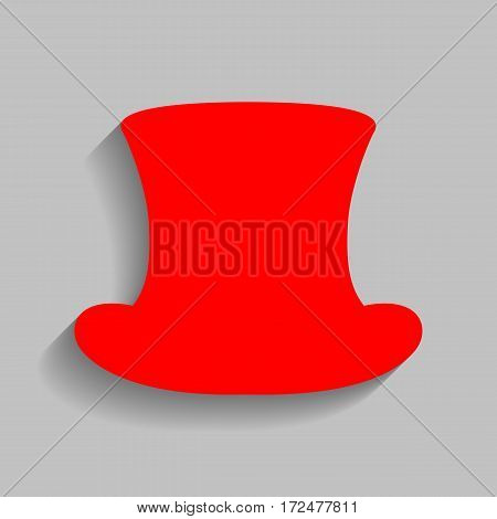 Top hat sign. Vector. Red icon with soft shadow on gray background.