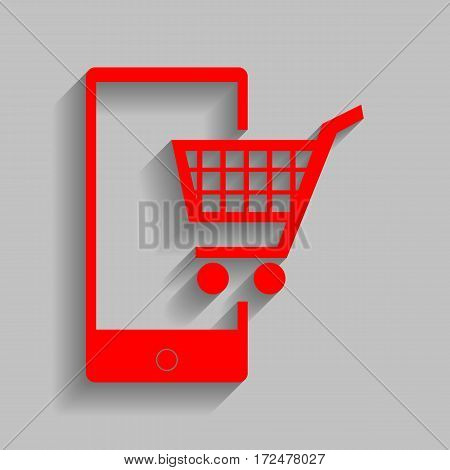 Shopping on smart phone sign. Vector. Red icon with soft shadow on gray background.