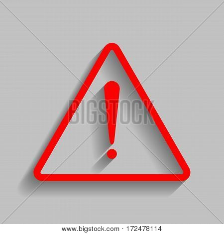 Exclamation danger sign. Flat style. Vector. Red icon with soft shadow on gray background.