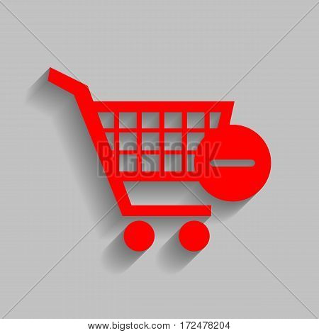 Vector Shopping Cart with Remove sign. Vector. Red icon with soft shadow on gray background.