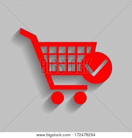 Shopping Cart with Check Mark sign. Vector. Red icon with soft shadow on gray background.