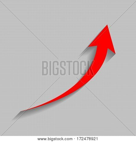 Growing arrow sign. Vector. Red icon with soft shadow on gray background.
