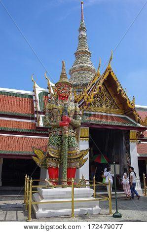 Bangkok, Thailand - 25 july, 2010:Wat Demon Guardian in Wat Phra Kaew Grand Palace Bangkok