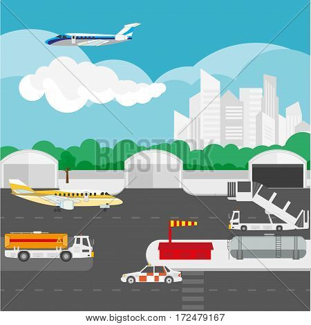 Airport flat details and vector elements template of passenger plane taking off or landing, international arrival and departure building. Air travel and tourism concept illustration