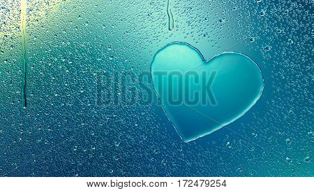 Water drop forming a heart - 3D Rendering
