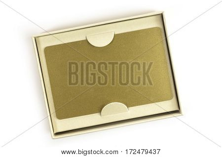 A photo of a blank VIP golden card in a gift box, shot from above on white background, with a place for text