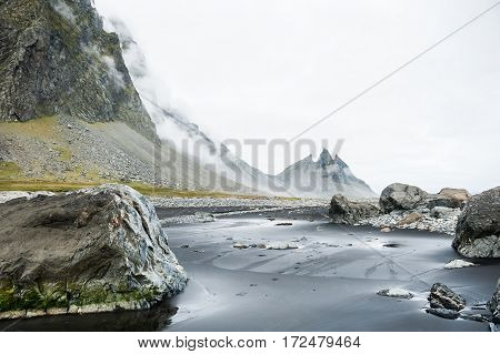 Mountains On The Coast Of The Atlantic Ocean,  Iceland