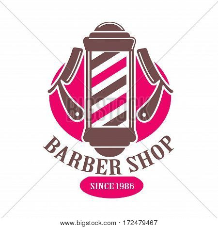 Barber shop logo or vector icon template. Premium hairdresser coiffeur or trend haircutter