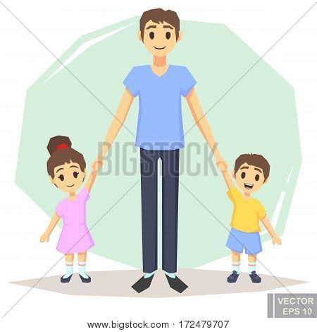 Happy Family Of Three Single Father With Son Daughter, Posing Together Holding Hands, , Parent And C