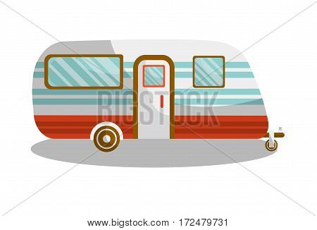 Camper trail of camper bus of van. Vector isolated flat icon of motorhome car or vehicle for holiday trip or travel caravanette coach