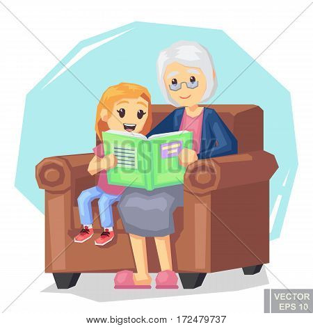 Illustration Of Kid Granddaughter Listening Their Grandmother Reading A Story