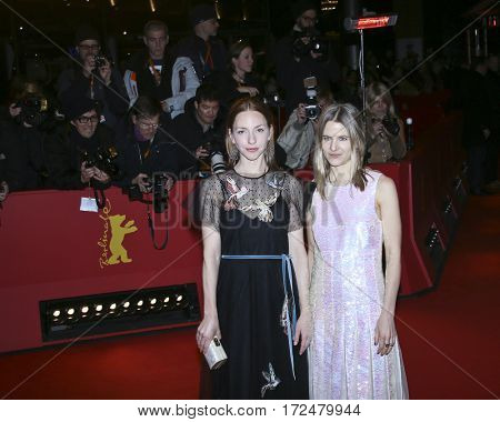 Katharina Schuettler and costume designer Aino Labrenz  arrive for the closing ceremony of the 67th Berlinale  Festival Berlin at Berlinale Palace on February 18, 2017 in Berlin, Germany.