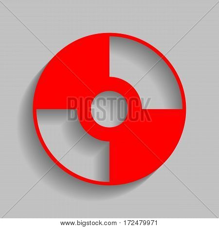 Vector CD or DVD sign. Vector. Red icon with soft shadow on gray background.