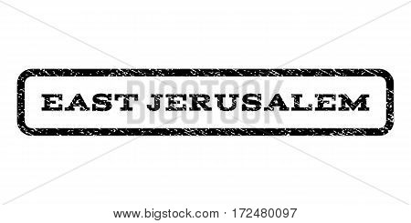 East Jerusalem watermark stamp. Text tag inside rounded rectangle with grunge design style. Rubber seal stamp with unclean texture. Vector black ink imprint on a white background.