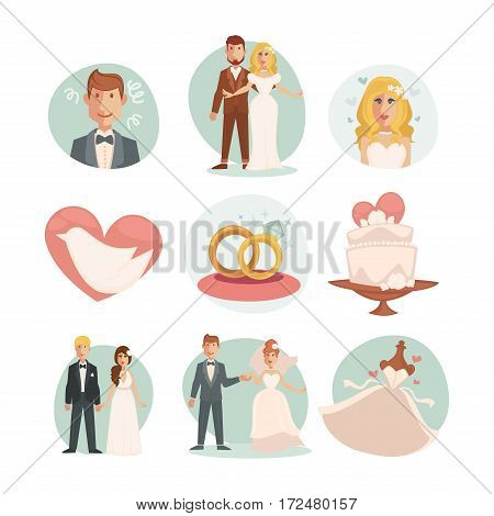Wedding Bride and groom. Vector wedding illustrations with marriage ceremony and happy couple, dress and ring, wedding cake. Set of flat design element for invitation cards wedding scrapbook.