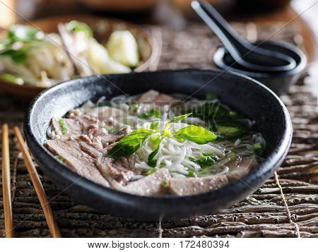 vietnamese pho with marble brisket