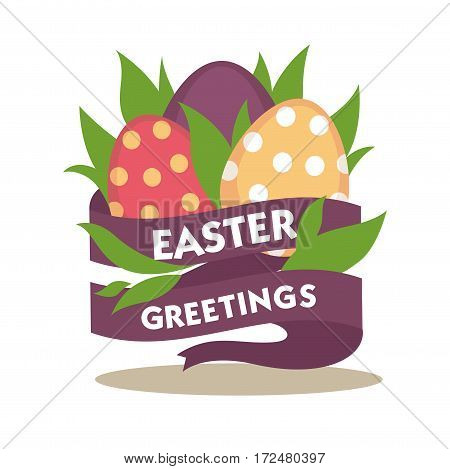 Easter greetings conceptual banner. Colorful eggs decorated with purple tape ribbon with congratulations text. Vector illustration of greeting card for religious holiday in flat style design
