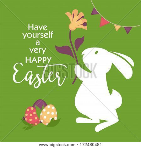 Happy easter greeting card design. Rabbit silhouette with flower on background, decorated eggs and foliage. Fluffy white hare vector illustration in flat style