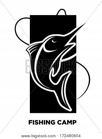 Black Fishing icon of fish on hook for fisherman club or fishery sea sport adventure logo template. Fishery rod with big catch of tuna or trout. Vector illustration