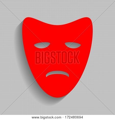 Tragedy theatrical masks. Vector. Red icon with soft shadow on gray background.