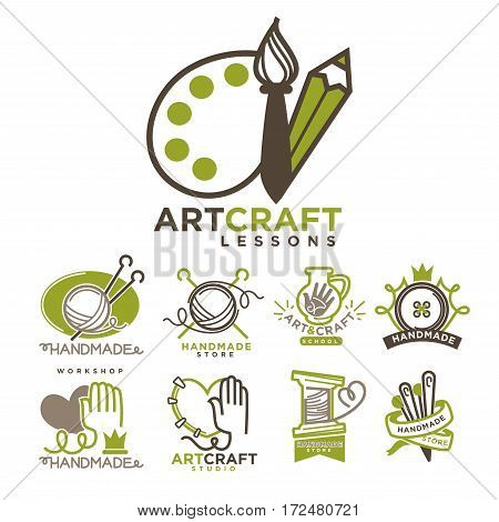 Art and handmade craft logo templates flat set. Vector posters for artist studio or painter shop, knitting needlework and tailoring school and pottery workshop with charity concept