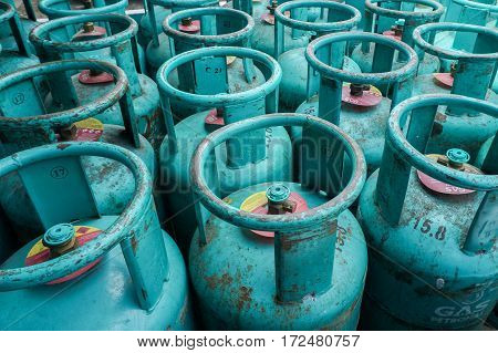 Labuan,Malaysia-April 25,2016:An image of Liquefied Petroleum Gas cylinders for home use in Labuan,Malaysia on 25th April 2016.