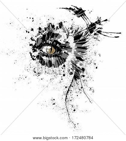 The all seeing cat eye with particle and abstruct shape