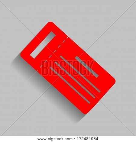 Ticket simple sign. Vector. Red icon with soft shadow on gray background.
