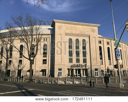 BRONX NEW YORK USA - FEBRUARY 19: Yankee Stadium during the day. Taken February 19 2017 in New York.