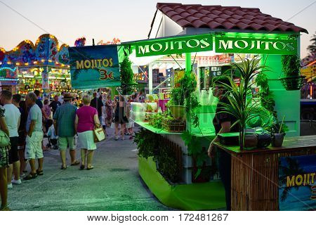 Torrevieja, Spain - July 28, 2015: Sale mojito drink at amusement park in the evening.