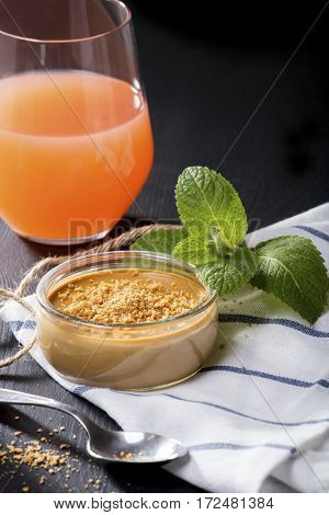 Creme caramel with brown sugar and juice