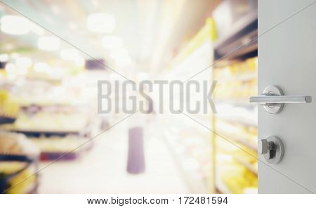 Opened White Door To Supermarket With Miscellaneous Product On Shelves