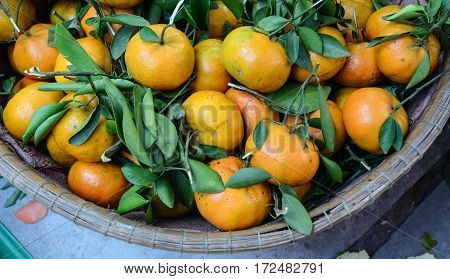 Fresh Mandarin Fruits At The Market In Asia