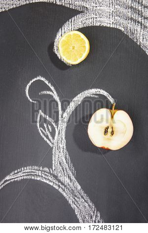 Drawn with chalk tree with fruit