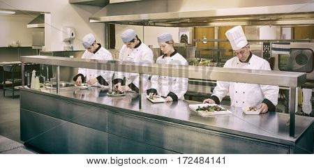 Focused chefs preparing plate in professioanl kitchen