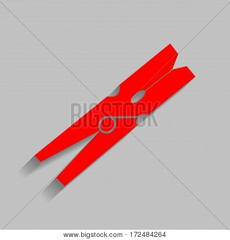 Clothes peg sign. Vector. Red icon with soft shadow on gray background.