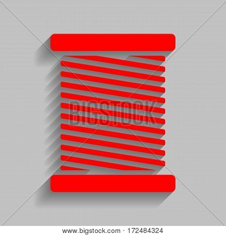 Thread sign illustration. Vector. Red icon with soft shadow on gray background.
