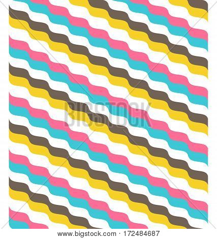 Seamless multicolor bright fun abstract wave pattern