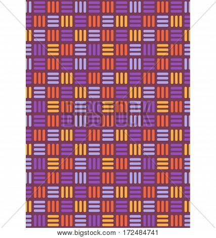 Seamless bright fun abstract mosaic knitted pattern isolated on violet background