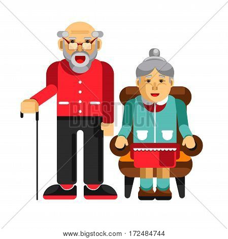 Happy pensioners couple isolated on white. Elderly man with stick and his wife sitting in armchair. Grandparents smiling having fun together. Vector illustration in flat style cartoon design.