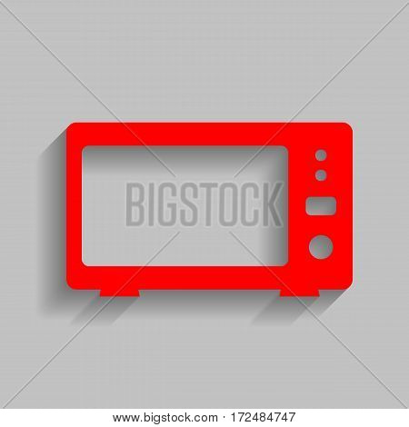Microwave sign illustration. Vector. Red icon with soft shadow on gray background.