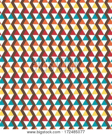 Seamless bright fun multicolor geometric abstract pattern