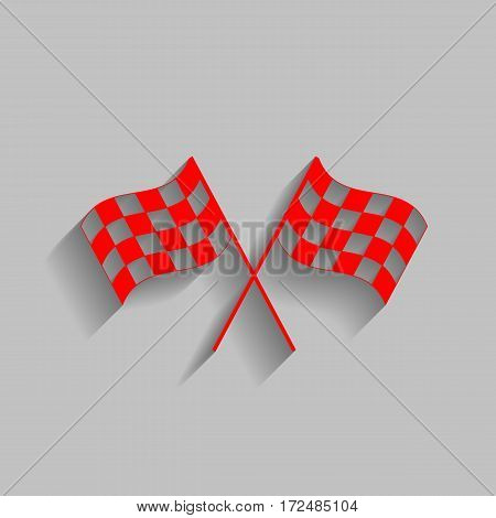 Crossed checkered flags logo waving in the wind conceptual of motor sport. Vector. Red icon with soft shadow on gray background.